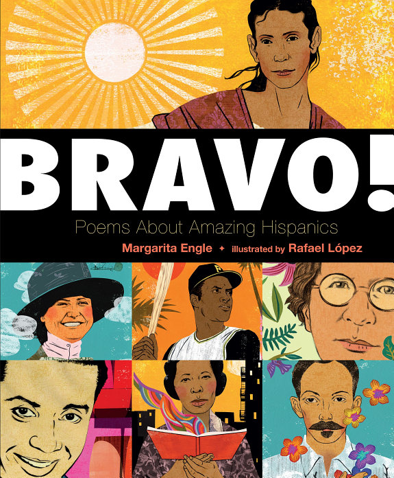 Book cover, illustrated faces of well known Hispanic and Latinx people