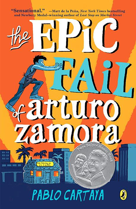 Book cover, silloette of city buildings, palms trees, a boy tried to climb the book title above the city reaches for the word fail and knocks it away