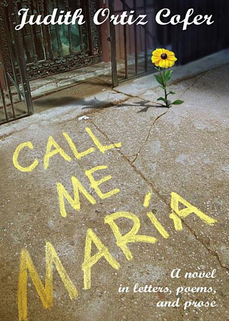 Book cover, sunflower grows out of crack in pavement, yellow writing on pavement says call me maria