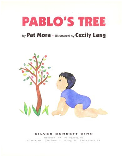 Book Cover, baby in blue onesie crawls towards a small tree