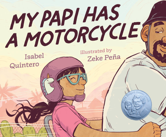 Book Cover, a man rides a motorcycle, a young girl sits behind him wearing a pink helmet