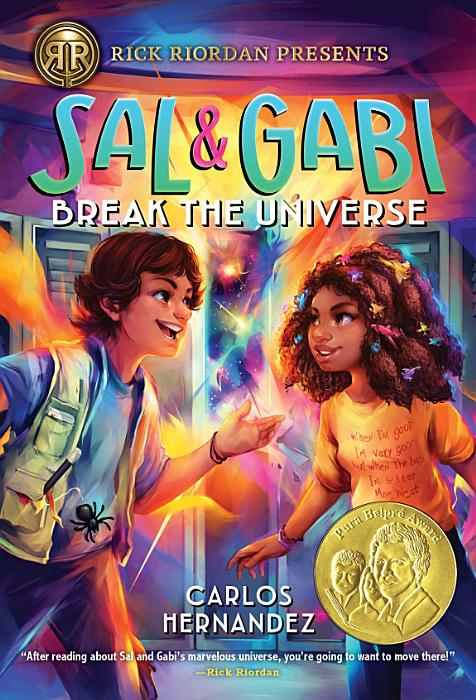 Book cover, boy in a cargo vest, magician wand in his pocket and a girl with colorful ribbons in her hair, stand in front of lights and stars shinning out of a school locker.