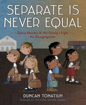 Book cover, one group of white and one group of brown schoolchildren, the two groups face away from each other
