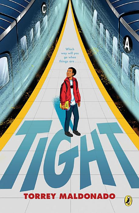 Book cover, two trains speed past, older boy in red jacket stands on platform between them he looks worried