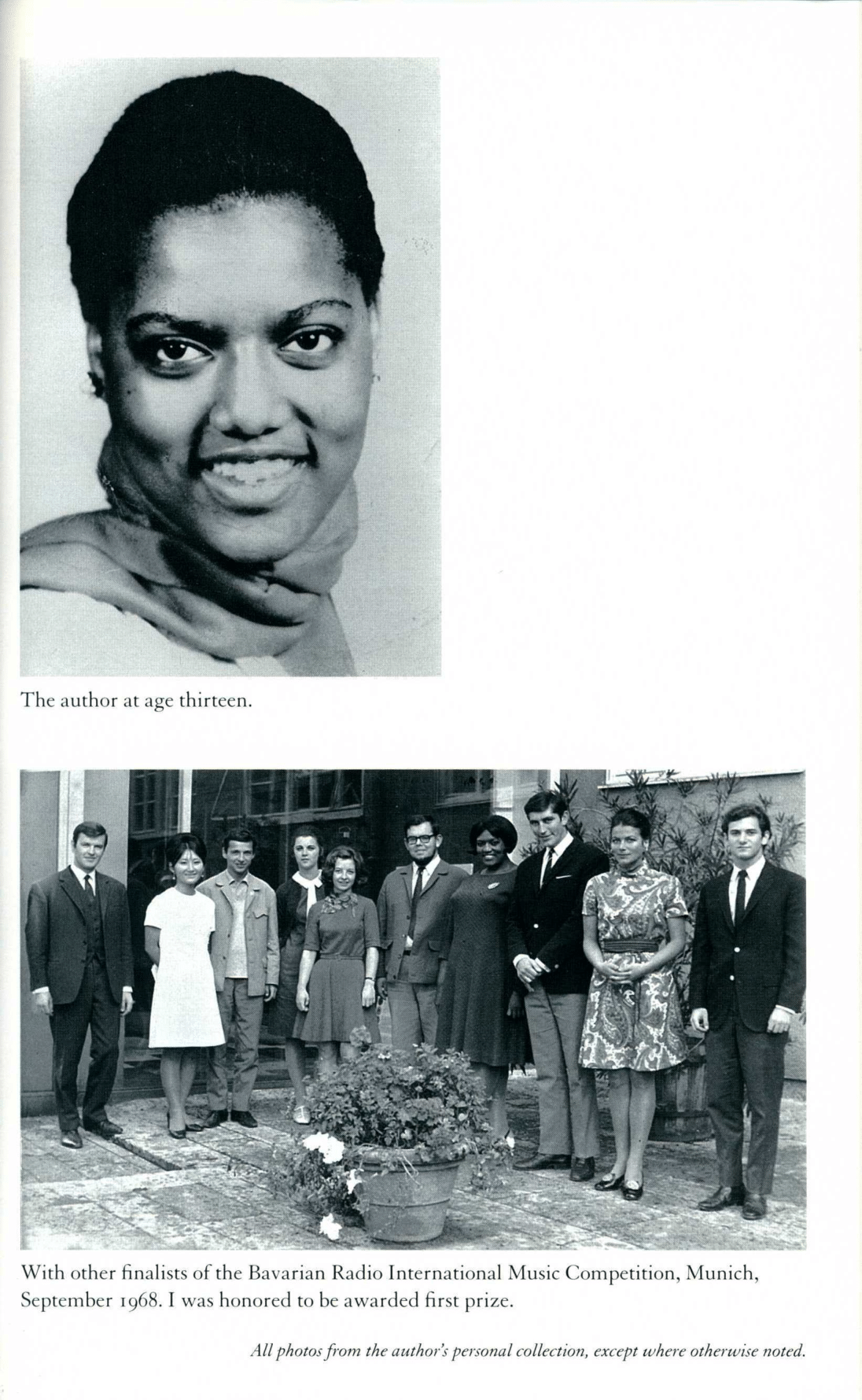 Headshot and prize photo from Jessye Norman's autobiography