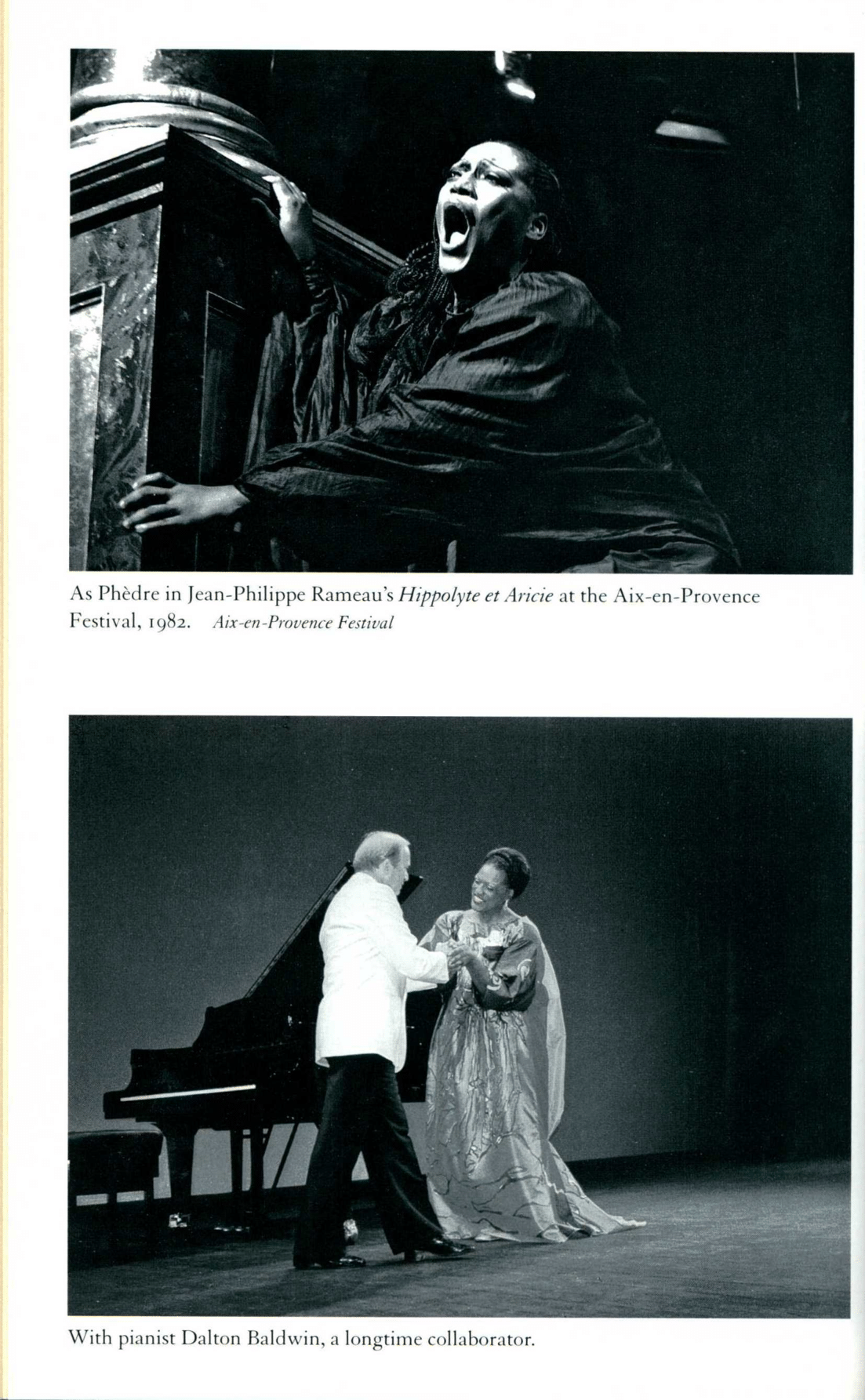 Jessye Norman as Phedre and a second photo woth pianist Dalton Baldwin