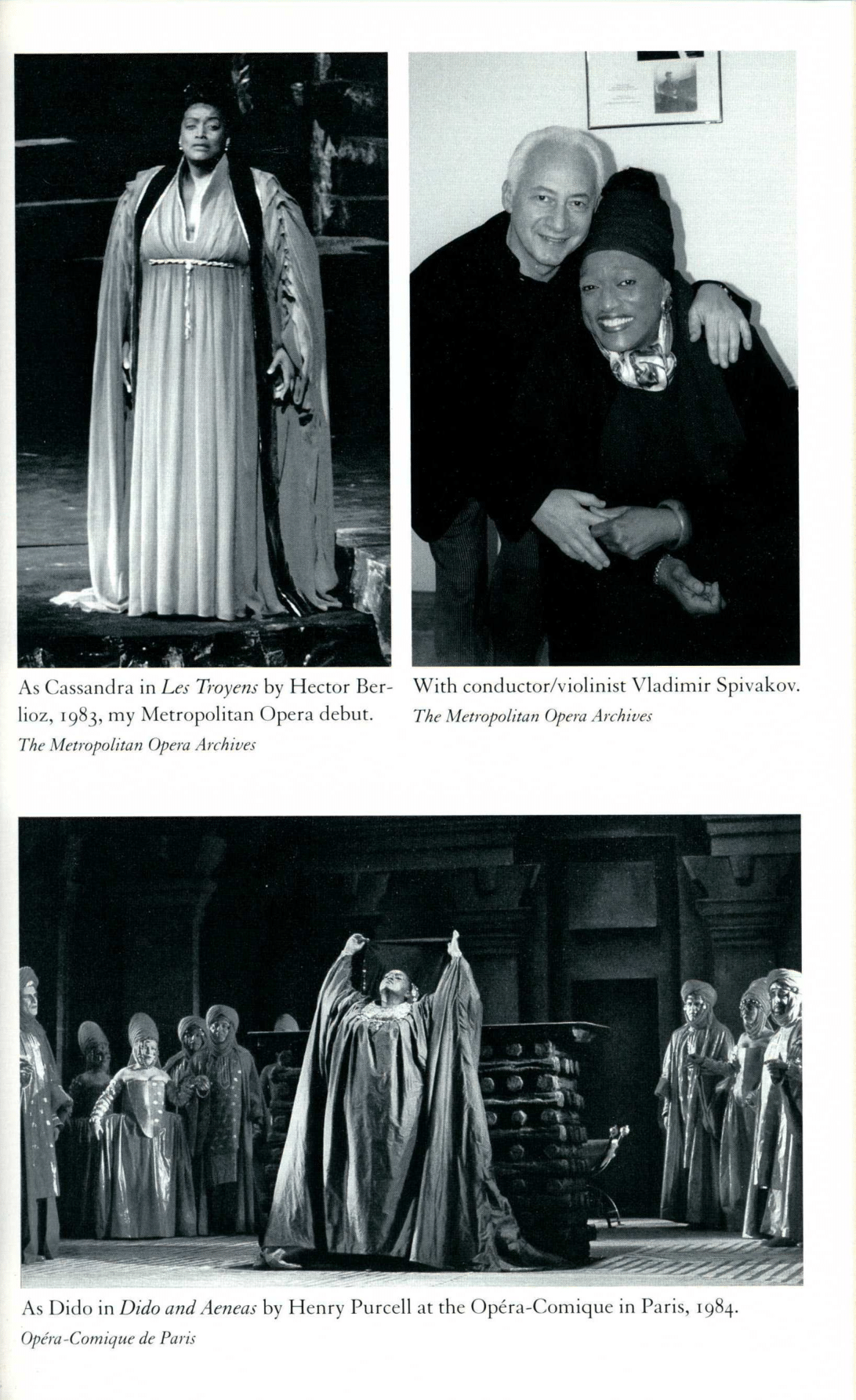 Jessye Norman as Cassandra, second photo with conductor Vladmir Spivakov, and third photo singning Dido
