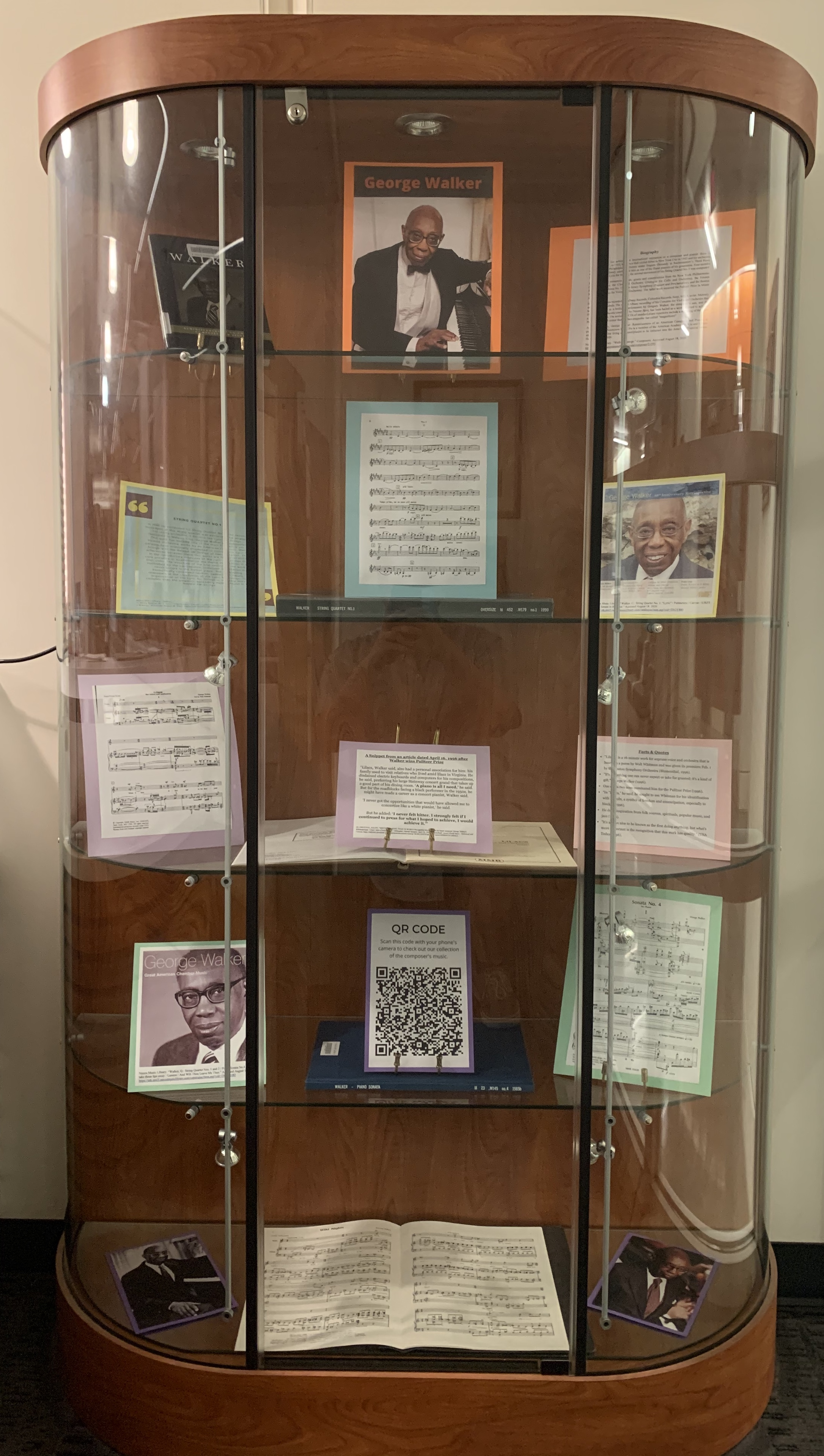 DeVine Music Library Display Case featuring the George Walker collection and materials
