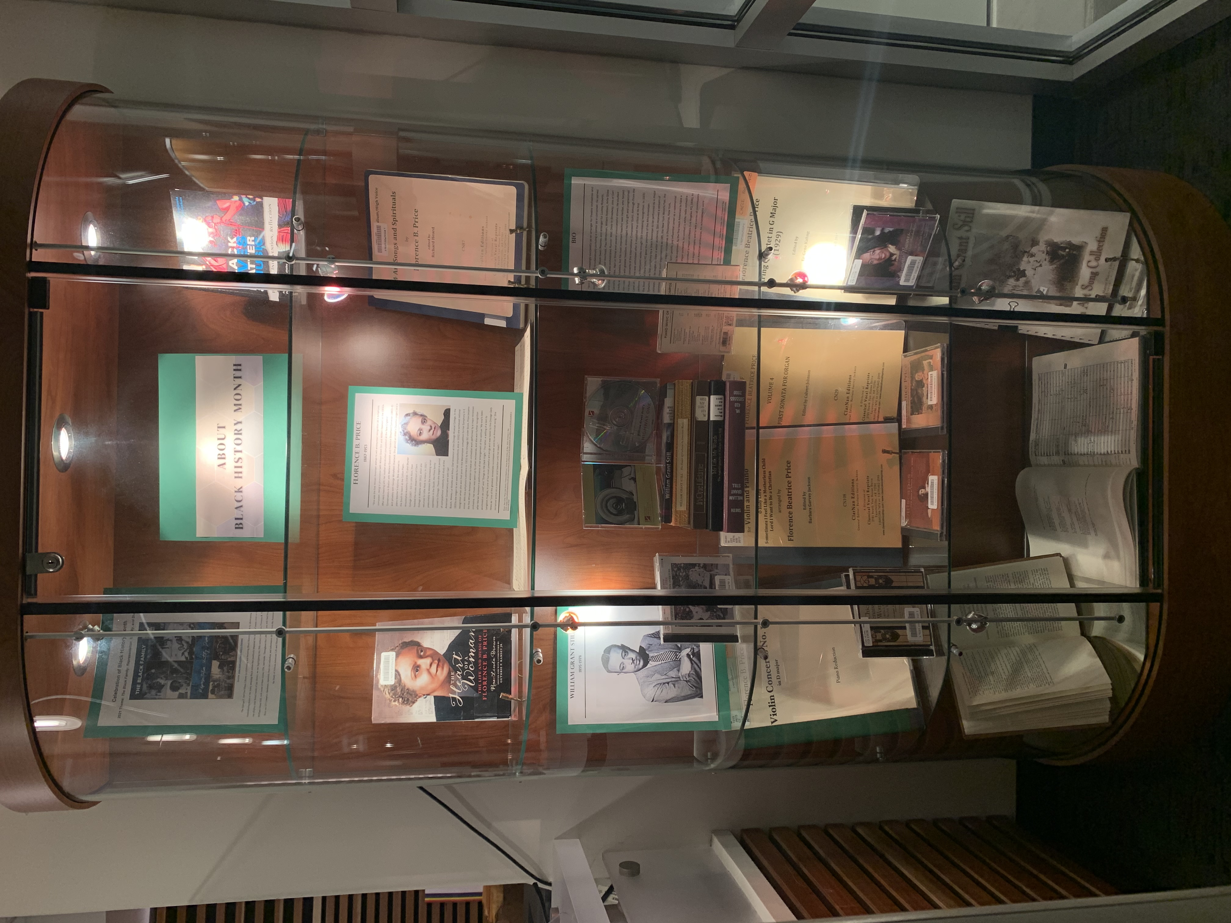 DeVine Display Case featuring Black History month materials
