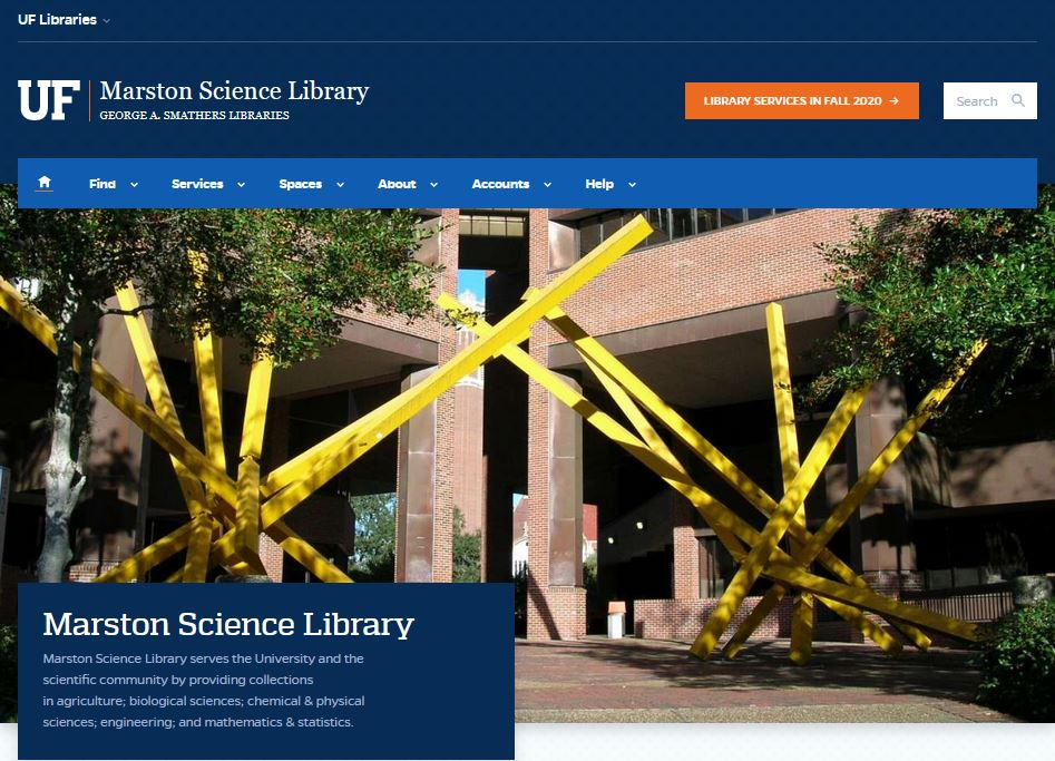 Marston Science Library new Website Homepage