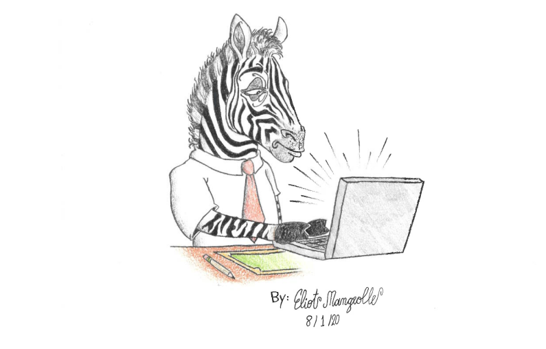 a zebra in a shirt and tie at a laptop