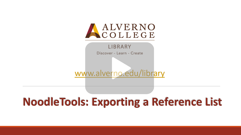 Exporting a reference list
