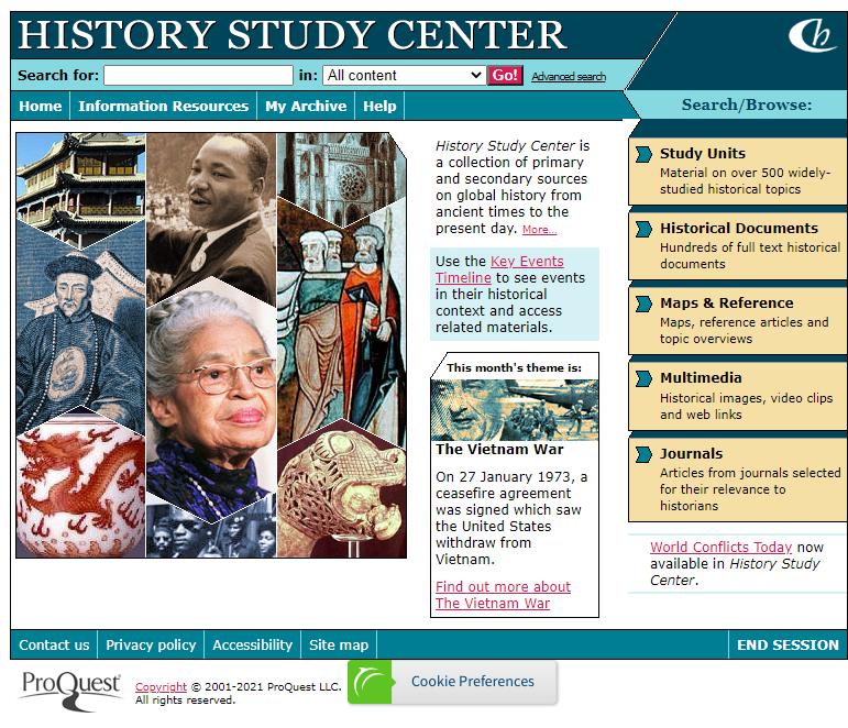 History Study Center main page