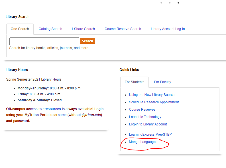 How to find the quick links box on the main homepage