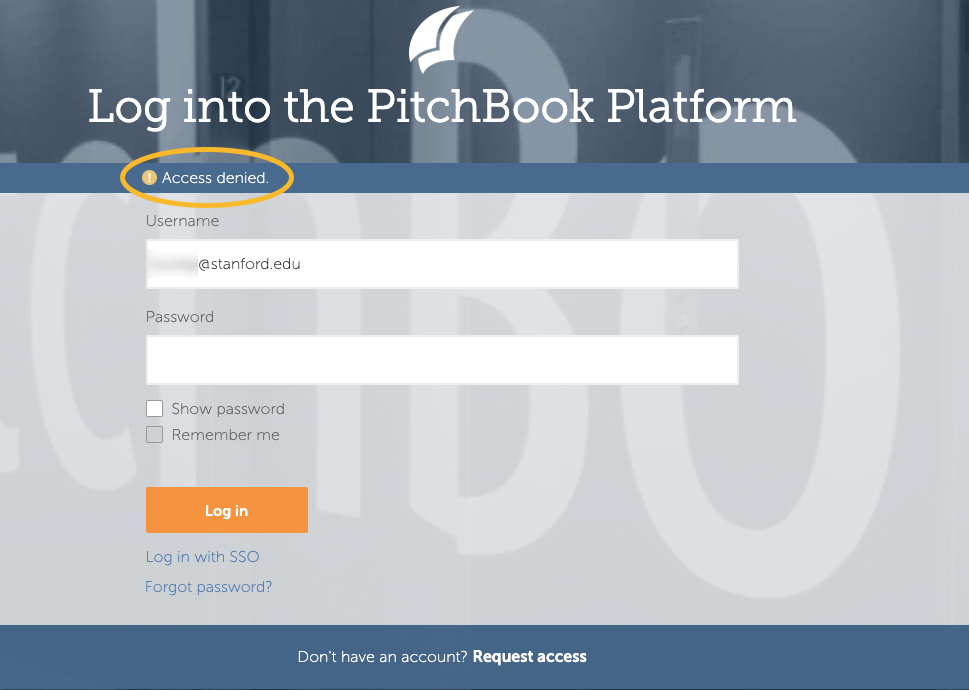 PitchBook access denied