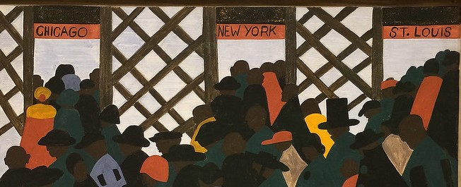 painting by African-American painter Jacob Lawrence. Many Black people are traveling through doors labeled, 'Chicago, New York, and St. Louis.'