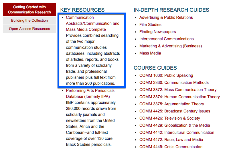 "The Communication research guide portal, showing the top entry under ""Key Resources,"" Communication Abstracts/Communication and Mass Media Complete"