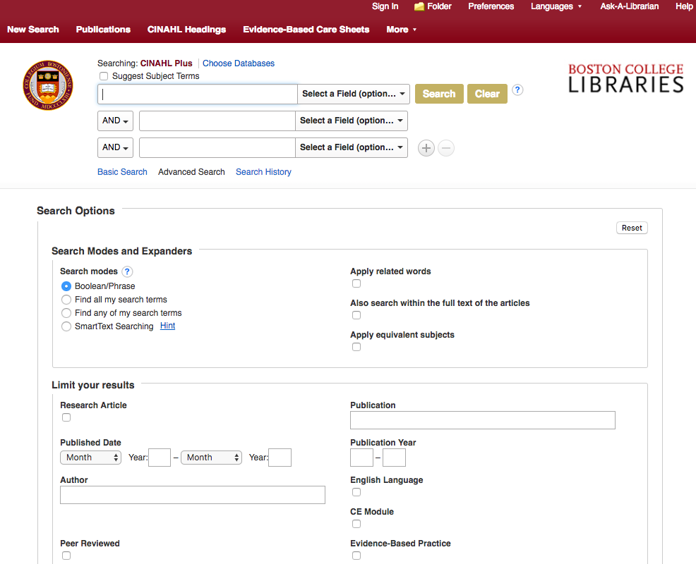 Screenshot of CINAHL (by Ebsco) main interface, showing advanced search, and search options including Search Modes and Expanders, and Limit Your Results