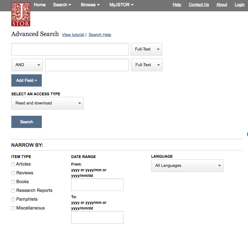 "Screenshot of JSTOR main search page, showing advanced search and other search options under ""Narrow by"", such as item type, date range, and language"