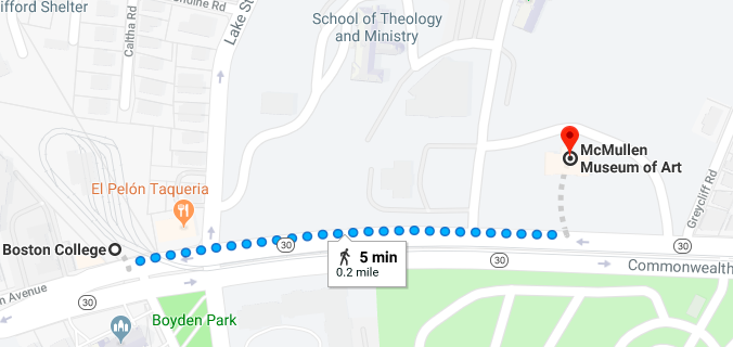 Map showing route of 5 minute walk from Green (B) Line Boston College MBTA station to the McMullen Museum via Commonwealth Avenue.