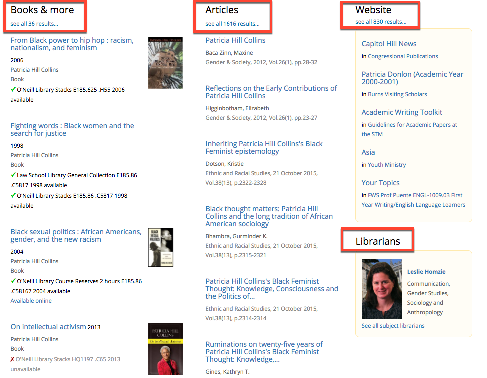 Image of initial catalog search results, showing categories for Books & more, Articles, Website, and Librarians