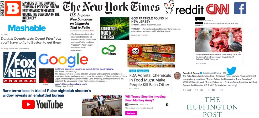 collage of online news logos and headlines, and social media logos.