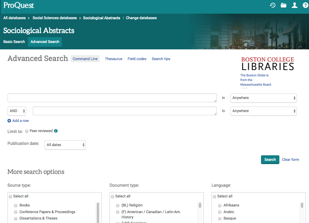 Screenshot of ProQuest Sociological Abstracts main screen, showing advanced search and additional search options, including source type, document type, and language.