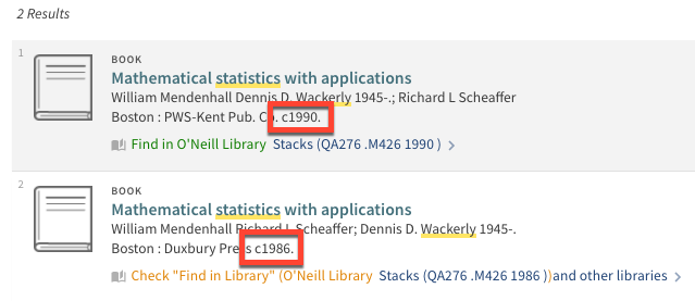 screenshot showing two books in results list with copyright dates of 1990 and 1986.
