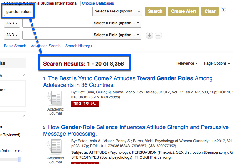 "Screen shot of search for ""gender roles"" in Women's Studies International, displaying 8,358 results"
