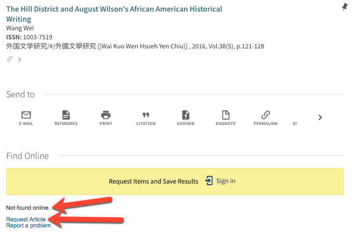 "screenshot of article in catalog, with arrows pointing to ""not found online"" and ""Request Article"" link"