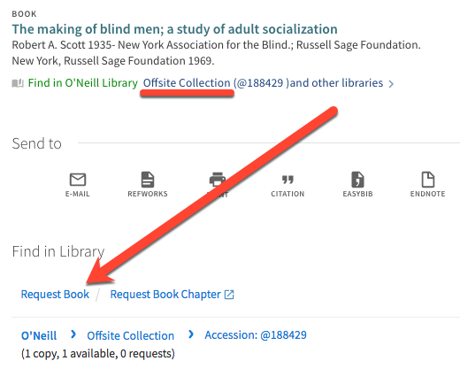 "book record showing ""offsite collection"" and location of ""request book"" link under ""Find in Library"" header"