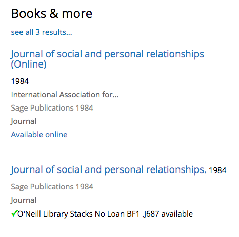 screenshot of search results for the Journal of social and personal relationships, showing two entries, one electronic and one print