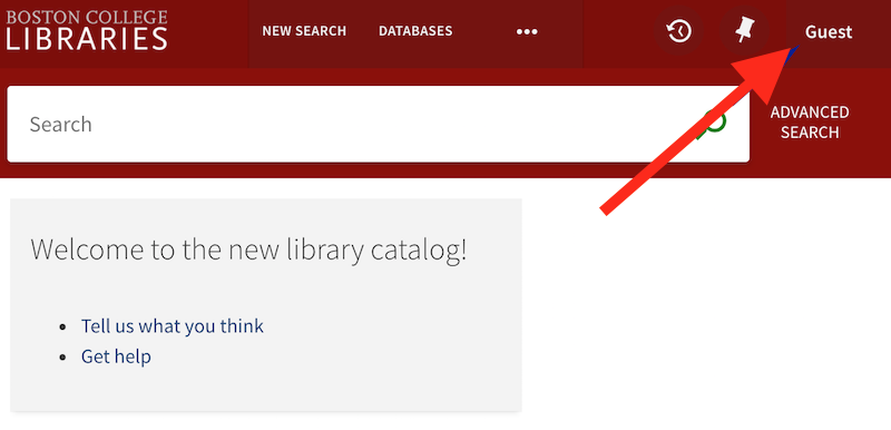screenshot of guest link to log into the library catalog, in the upper right corner of the catalog page