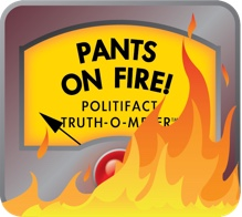 Politifacts pants on fire truth-o-meter image