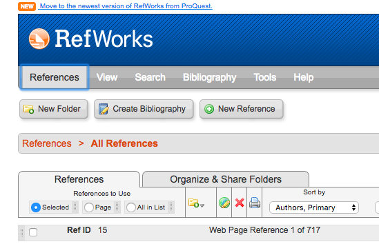 A screenshot of the old/legacy RefWorks interface, showing the logo and main menu: References, View, Search, Bibliography, Tools, and Help