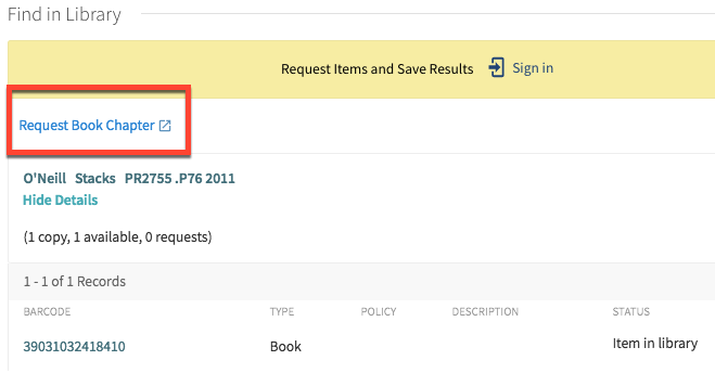 "screenshot detail of a book record in the catalog with ""Request Book Chapter"" link highlighted, just under the Find in Library heading"
