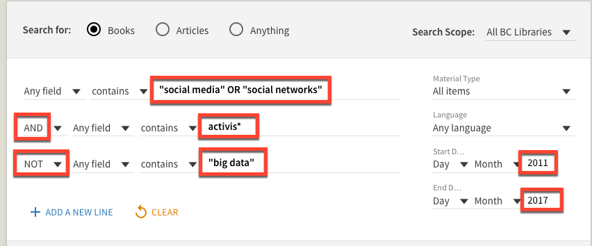 "Advanced search, with several search parameters highlighted in red boxes:'""social media"" OR ""social networks""' on line one, the AND drop-down and ""activis*"" on line two, the NOT drop-down and ""big data"" on line three, and the years 2012 and 2017 selected in the year range to the right."