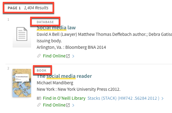 "Search results for ""social media"" with ""1,404 results"" highlighted, and the material type of the first two entries highlighted: database and book."