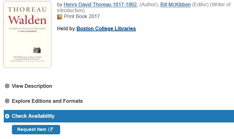 """screenshot showing """"request item"""" link in a WorldCat book record, just under the """"check availability"""" dropdown."""