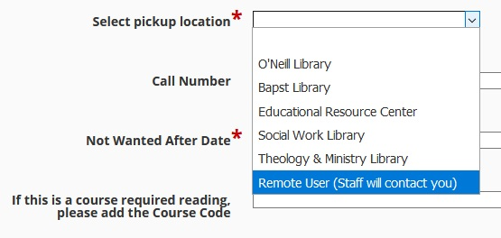 """screenshot showing ILL form pickup location drop-down with """"Remote User"""" option selected"""