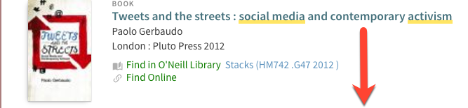 Book image and catalog record for the book Tweets and the Streets: Social Media and Contemporary Activism, published in 2012, with a red arrow pointing downward