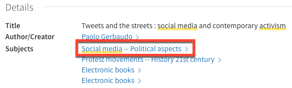 "Details about Tweets and the Streets, with the subject tag ""Social Media -- Political Aspects"" highlighted in a red rectangle."