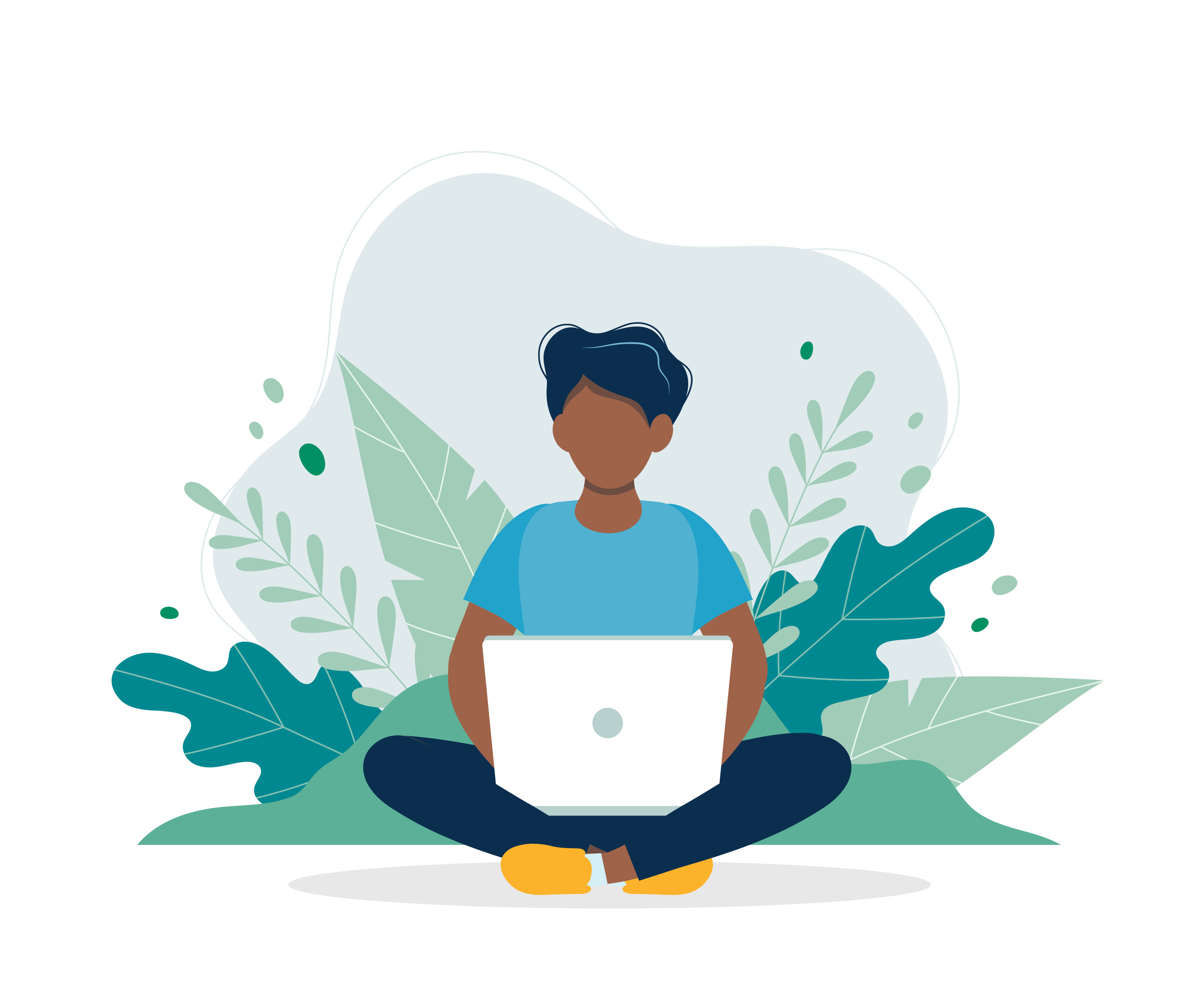 icon of person sitting crosslegged holding laptop