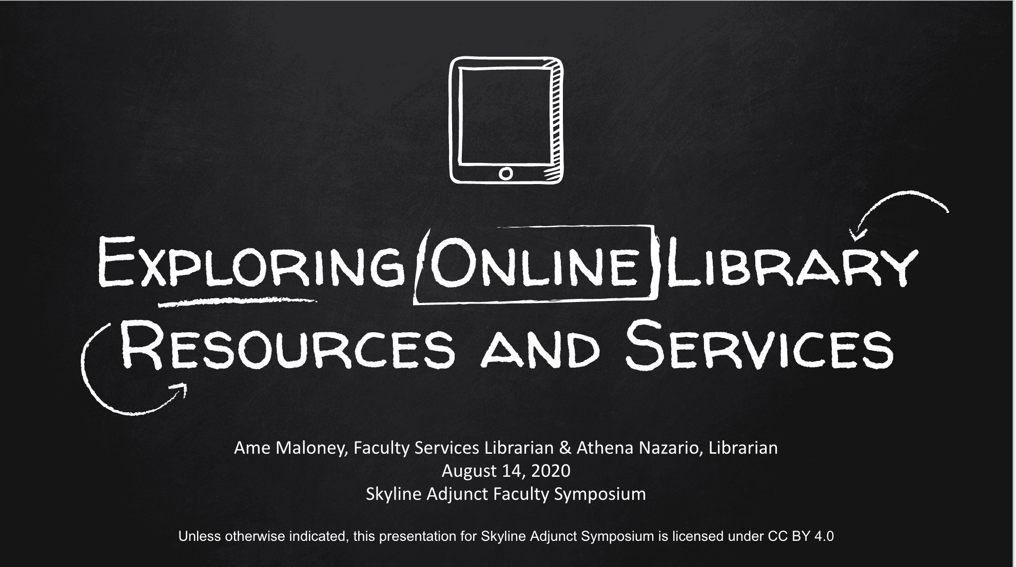 Exploring Online LIbrary Resources chalkboard graphic