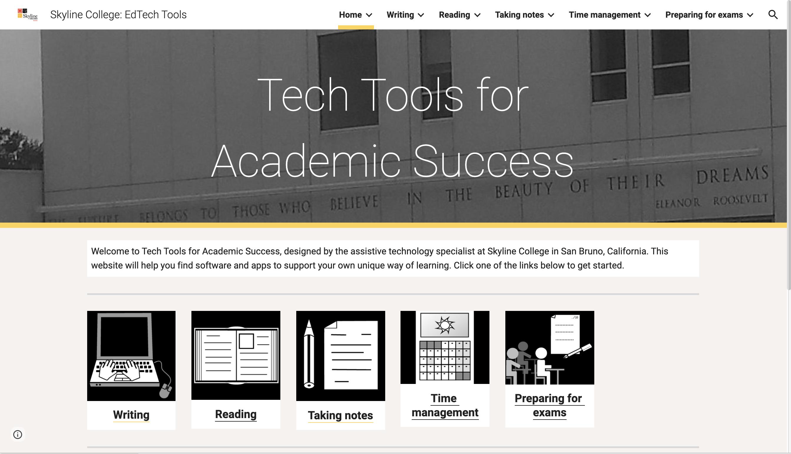 Screen shot Tech Tools for Academic Success