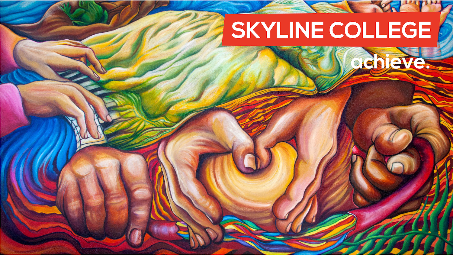Skyline mural with achieve on it