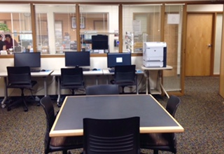Computer workstations in the library