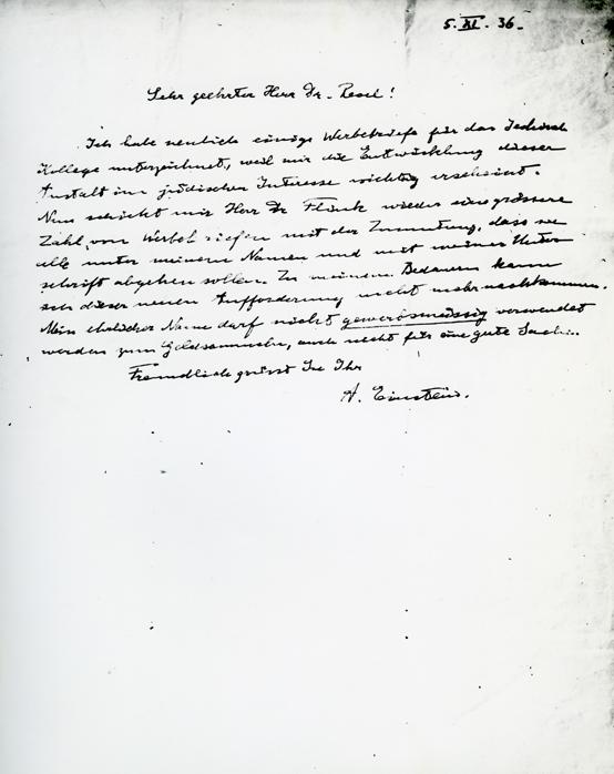 Einstein Refuses to Sign