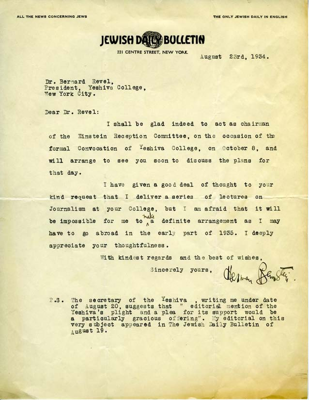 Herman Bernstein to Host Einstein