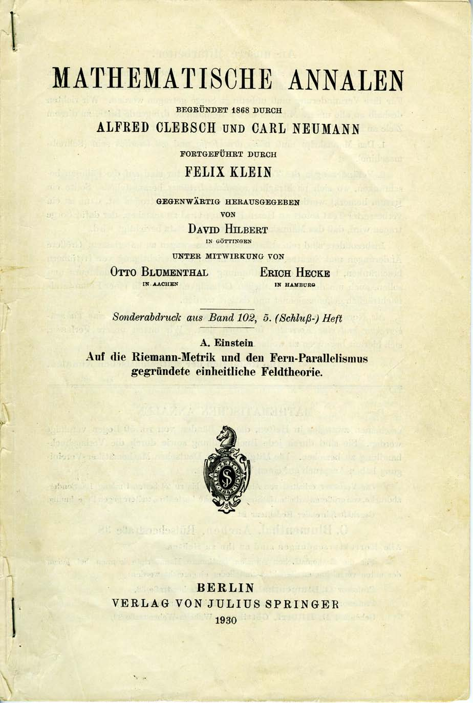 Published Version of Einstein's Manuscript